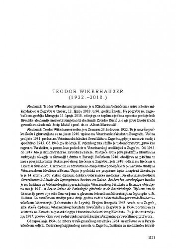Teodor Wikerhauser (1922.-2018.) : [nekrolog] / Josip Madić