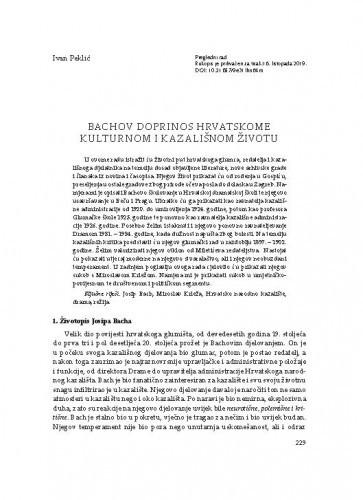 Bachov doprinos hrvatskome kulturnom i kazališnom životu / Ivan Peklić