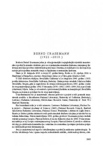 Bernd Crasemann (1922.-2018.) : [nekrolog] / Ksenofont Ilakovac