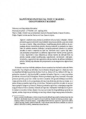 Napušteno plovilo na vezu u marini ‒ odgovornost marine (Vrhovni sud Republike Hrvatske, presuda broj: Rev- x 778/2014 od 8. siječnja 2015.) : [prikaz] / Vesna Skorupan Wolff