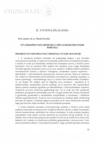 Stvarnopravno uređenje u hrvatskom pravnom poretku : [uvodno izlaganje] / Nikola Gavella