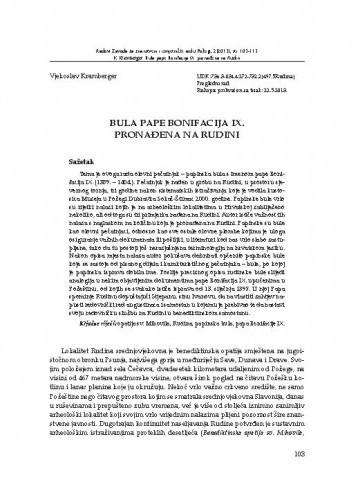 Bula pape Bonifacija IX. pronađena na Rudini / Vjekoslav Kramberger