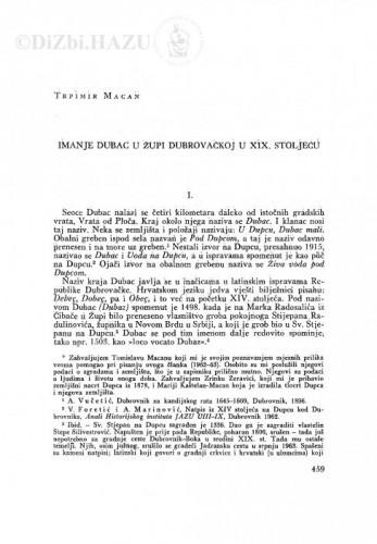 Imanje Dubac u Župi dubrovačkoj u XIX stoljeću / T. Macan