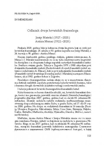 Odlazak dvoje hrvatskih frazeologa : Josip Matešić (1927.–2020.) [i] Antica Menac (1922.–2020.) : in memoriam / Željka Fink
