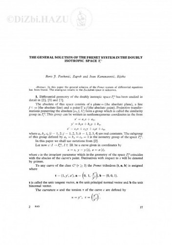 The general solution of the Frenet system in the doubly isotropic space I!<SUB!>3!</SUB!>!<SUP!>2!</SUP!> / B. Pavković, I. Kamenarović
