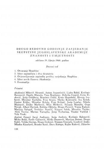 Drugo redovno godišnje zasjedanje skupštine Jugoslavenske akademije znanosti i umjetnosti održano 29. lipnja 1960. godine