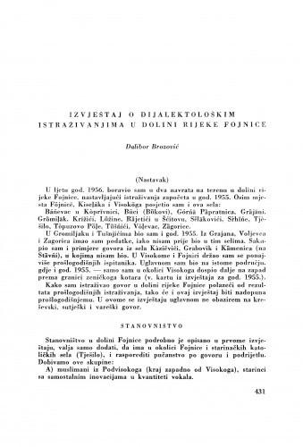 Izvještaj o dijalektološkim istraživanjima u dolini rijeke Fojnice (Nastavak.) / D. Brozović