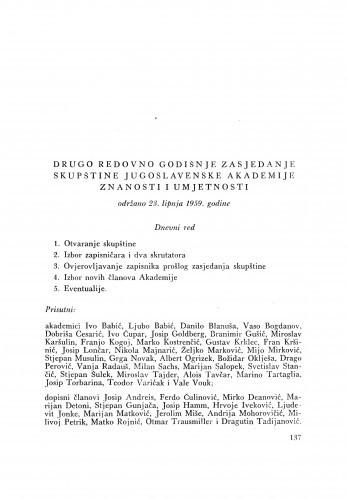 Drugo redovno godišnje zasjedanje skupštine Jugoslavenske akademije znanosti i umjetnosti održano 23. lipnja 1959. godine