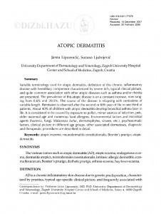 Atopic dermatitis / Jasna Lipozenčić, Suzana Ljubojević
