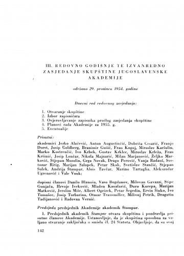 III. redovno te izvanredno zasjedanje Jugoslavenske akademije održano 29. prosinca 1954. godine