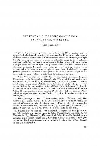 Izvještaj o toponomastičkom istraživanju Mljeta / P. Šimunović