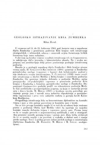 Geološko istraživanje krša Žumberka / M. Herak