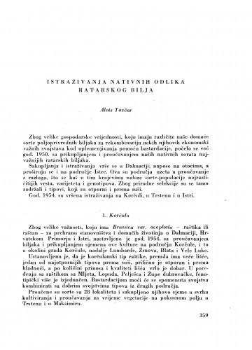 Istraživanja nativnih odlika ratarskog bilja / A. Tavčar