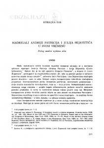 Madrigali Andrije Patricija i Julija Skjavetića u svom vremenu / K. Kos