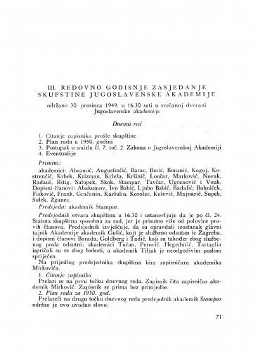 III. redovno godišnje zasjedanje skupštine Jugoslavenske akademije : održano 30. prosinca 1949.
