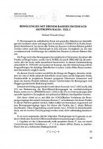 Bewegungen mit ebenem Bahnen im einfach isotropen Raum - teil I / Helmut Wresnik