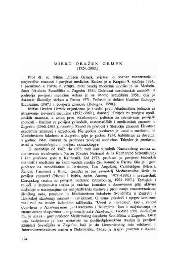 Mirko Dražen Grmek (1924.-2000.) / Biserka Belicza