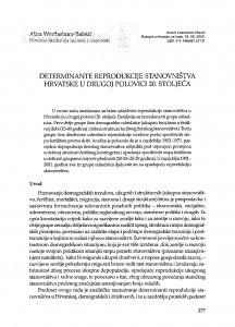 Determinante reprodukcije stanovništva Hrvatske u drugoj polovici 20. stoljeća / Alica Wertheimer-Baletić