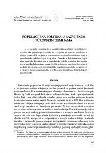 Populacijska politika u razvijenim zemljama / Alica Wertheimer-Baletić