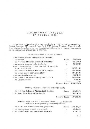 Financijski izvještaj za godinu 1990.