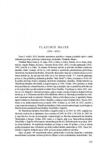 Vladimir Majer (1922.-2012.) : [nekrolog] / Vesnica Garašić, Boško Lugović