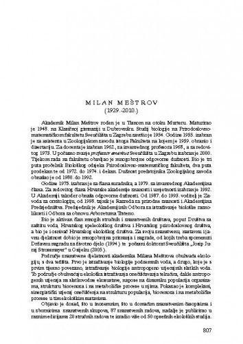 Milan Meštrov (1929.-2010.) : [nekrolog] / Mladen Kerovec