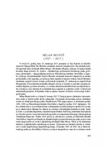 Milan Moguš (1927.-2017.) : [nekrolog] / August Kovačec