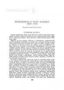 Monografija o Ivanu Kozarcu (1885-1910) / A. Šljivarić