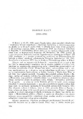 Danilo Klen (1910-1990) : [nekrolozi] / Lujo Margetić