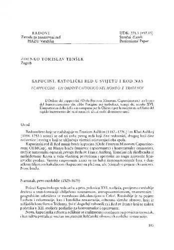 Kapucini, katolički red u svijetu i kod nas / Zdenko Tomislav Tenšek