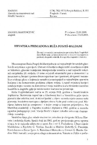 Hrvatska primadona Ruža Pospiš-Baldani / Jagoda Martinčević
