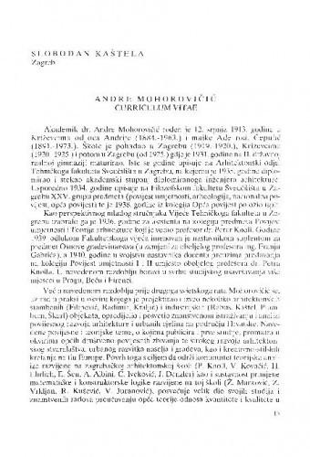 Andre Mohorovičić : curriculum vitae / Slobodan Kaštela