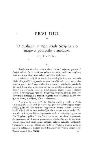 O dualizmu u vjeri starih Slovjena i o njegovom podrijetlu i značenju / I. Pilar