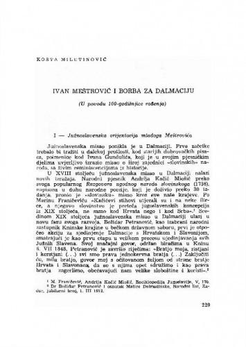 Ivan Meštrović i borba za Dalmaciju : (u povodu 100-godišnjice rođenja) / Kosta Milutinović