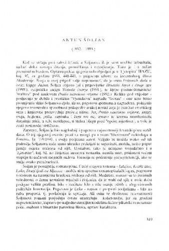 Antun Šoljan : (1932.-1993.) / Ante Stamać