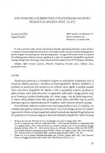 Dva pomorca iz Hrvatske u plovidbama na rubu poznatog svijeta (poč. 15. st.) / Krežimir Kužić