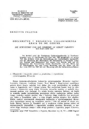 Obućarstvo i kožarstvo varaždinskoga kraja do 1945. godine / Dragutin Feletar