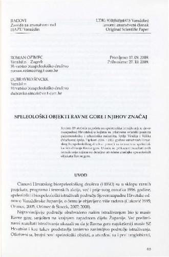 Speleološki objekti Ravne gore i njihov značaj / Roman Ozimec, Dubravko Šincek