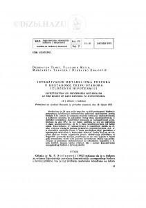Istraživanje metabolizma fosfora u koštanome tkivu štakora izloženih hipotermiji / D. Timet, V. Mitin, M. Tranger i D. Emanović