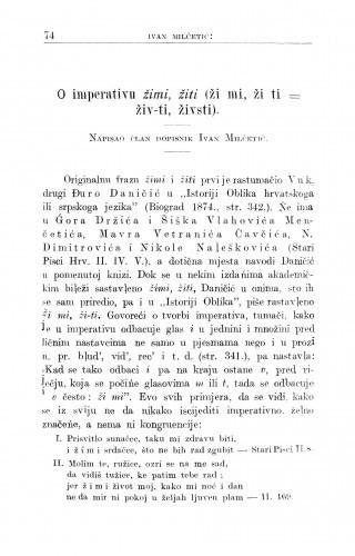 O imperativu žimi, žiti (ži mi, ži ti = živ-ti, živsti) / I. Milčetić