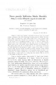 Nova poezija Splićanina Marka Marulića : prilog za reviziju bibliografije njegovih hrvatskih djela / F. Fancev