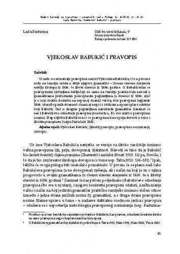 Vjekoslav Babukić i pravopis / Lada Badurina