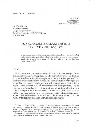 Funkcionalne karakteristike tekstne vrste izvješće / Suzana Jurin