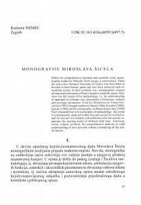 Monografije Miroslava Šicela / Krešimir Nemec