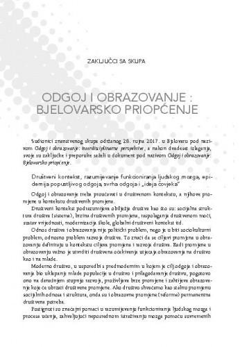 Odgoj i obrazovanje : Bjelovarsko priopćenje : Zaključci sa skupa / Vladimir Strugar