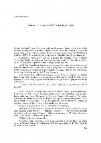 """Goran je """"Jamu"""" prvo pročitao Titu / J. Kaštelan"""