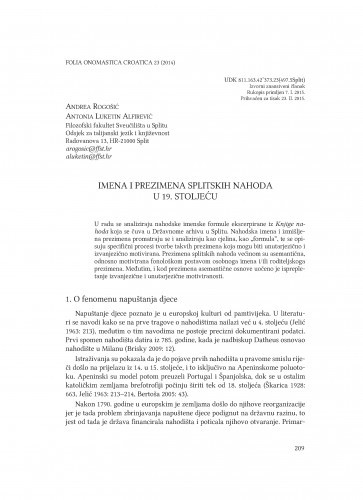 Imena i prezimena splitskih nahoda u 19. stoljeću / Andrea Rogošić, Antonia Luketin Alfirević