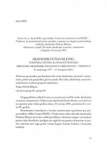 Akademik Dušan Klepac, voditelj Centra za znanstveni rad Hrvatske akademije znanosti i umjetnosti - Vinkovci : (8. studenoga 1977.-27. listopada 2004.) / Anica Bilić