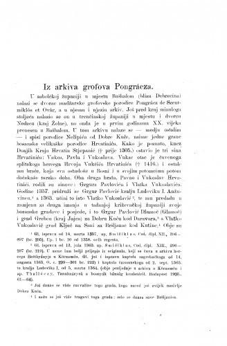 Iz arhiva grofova Pongrácza / Ferdo Šišić