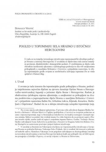 Pogled u toponimiju sela Hrasno u istočnoj Hercegovini / Domagoj Vidović